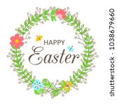easter wreath with flowers ... | Shutterstock .eps vector #1038679660