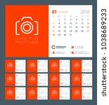 calendar for 2018 year. week... | Shutterstock .eps vector #1038689233