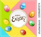 multicolored easter eggs on... | Shutterstock .eps vector #1038689374