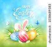 three colorful easter eggs with ... | Shutterstock .eps vector #1038689383