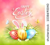 three colorful easter eggs with ... | Shutterstock .eps vector #1038690040