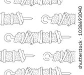 seamless pattern of shish... | Shutterstock .eps vector #1038693040