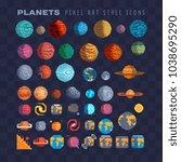 sci fi planets pixel art 80s... | Shutterstock .eps vector #1038695290