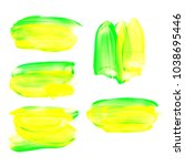 spots of paint on paper  bright ... | Shutterstock . vector #1038695446