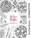 italian pasta frame. hand drawn ... | Shutterstock .eps vector #1038699550