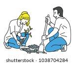 young volunteers  helping to... | Shutterstock .eps vector #1038704284