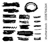 set of grunge brush stroke. ink ... | Shutterstock .eps vector #1038706264