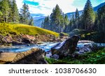mountain forest river landscape | Shutterstock . vector #1038706630