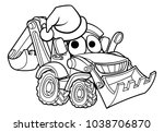bulldozer digger construction... | Shutterstock . vector #1038706870