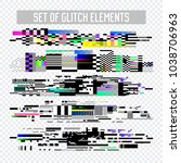 glitch effect elements set. tv... | Shutterstock .eps vector #1038706963