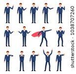 big set of businessman... | Shutterstock .eps vector #1038707260