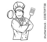chef cook standing in a... | Shutterstock .eps vector #1038709738