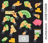 manipulation with money color... | Shutterstock .eps vector #1038710008