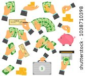 manipulation with money color... | Shutterstock .eps vector #1038710398
