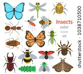 set of different insects color... | Shutterstock .eps vector #1038710500