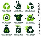 flat icon set for eco friendly... | Shutterstock .eps vector #1038710806