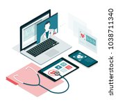 healthcare  diagnostics and... | Shutterstock .eps vector #1038711340