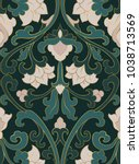 pattern with ornamental flowers.... | Shutterstock .eps vector #1038713569