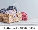 balls of  super chunky merino... | Shutterstock . vector #1038715306