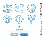 seafood thin line icons set ... | Shutterstock .eps vector #1038716653