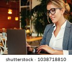 a young attractive business... | Shutterstock . vector #1038718810