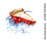 sketch of food with watercolor... | Shutterstock . vector #1038720304