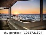 beach sunset in mykonos  greece | Shutterstock . vector #1038721924