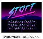 80's retro futurism style font. ... | Shutterstock .eps vector #1038722773