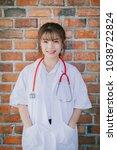 portrait of happy young female...   Shutterstock . vector #1038722824