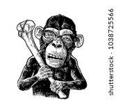 monkey holding tibia. vintage... | Shutterstock .eps vector #1038725566