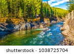 Mountain forest river landscape
