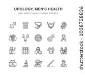 urology vector flat line icons. ... | Shutterstock .eps vector #1038728836