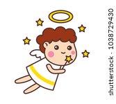 cute angels cartoon | Shutterstock .eps vector #1038729430