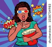 woman in 3d glasses watching a... | Shutterstock .eps vector #1038734983