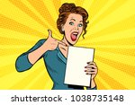 pop art woman points to a blank ... | Shutterstock .eps vector #1038735148