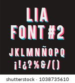 lia font  2. 3d typography set. ... | Shutterstock .eps vector #1038735610