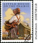 Small photo of MOSCOW, RUSSIA - MAY 11, 2017: A stamp printed in USA shows Little House on the Phairie by Laura Ingalls Wilder, Classic Books, 1993
