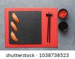 Salmon Sushi On Black Slate...