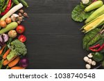 colorful organic vegetables... | Shutterstock . vector #1038740548