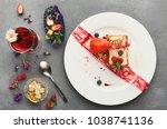 exquisite restaurant dessert.... | Shutterstock . vector #1038741136