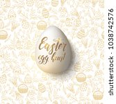 easter egg with hand made... | Shutterstock .eps vector #1038742576