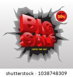 big sale red on crack wall 3d... | Shutterstock .eps vector #1038748309