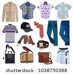 collection of fashionable men's ... | Shutterstock .eps vector #1038750388