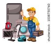 plumbing specialist with... | Shutterstock .eps vector #1038750760