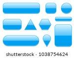 blue glass buttons. geometric... | Shutterstock .eps vector #1038754624