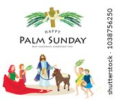religion holiday palm sunday... | Shutterstock .eps vector #1038756250