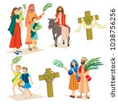 religion holiday palm sunday... | Shutterstock .eps vector #1038756256