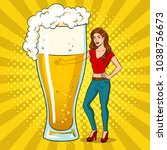 beautiful young woman with beer ... | Shutterstock .eps vector #1038756673