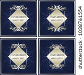 set of vector vintage cards... | Shutterstock .eps vector #1038761554