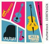 jazz music festival poster with ... | Shutterstock .eps vector #1038761626